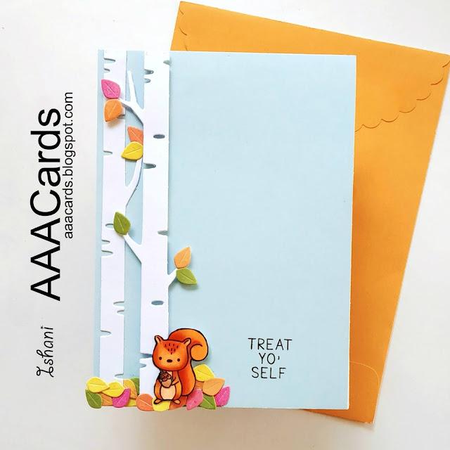 AAA Cards,CAS card,autumn card, critter card,Hello blue bird,Mint Owl studio,Quillish,