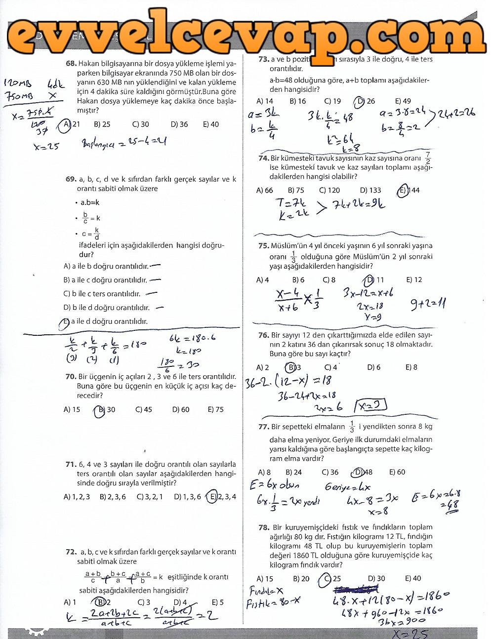 9.Sınıf Matematik MEB Yayınları Ders Kitabı 170.Sayfa Cevapları 3.Ünite Ölçme ve Değerlendirme (2017-2018 Yeni Müfredat)
