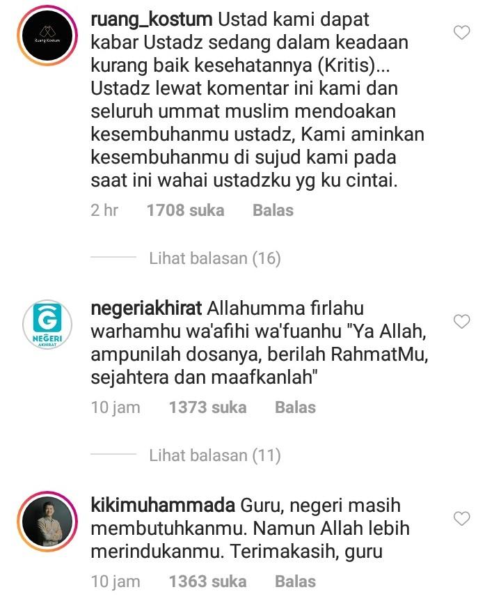 Kuras Air Mata, Ini Komentar Netizen Saat KH M Arifin Ilham Wafat