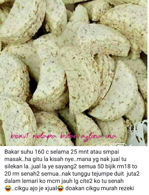 Biskut Raya Kuih Kelapa Bulan Cara Cikgu Azlina Ina