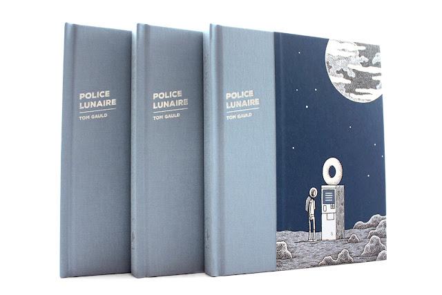 Portada de la edición francesa del cómic o novela gráfica Un policía en la luna de Tom Gauld