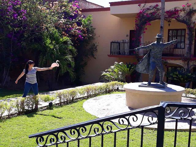 Girl and flamingo takes on Zoro at Hotel Posada del Hidalgo
