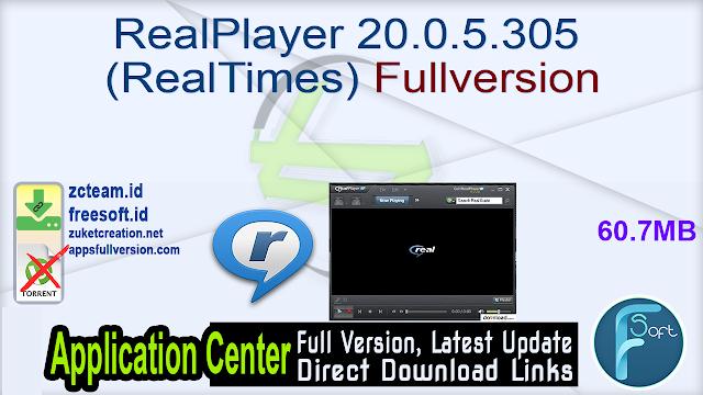 RealPlayer 20.0.5.305 (RealTimes) Fullversion