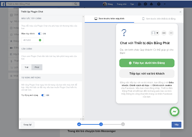 Canh trái, canh phải Menu chát Message FB, Tuỳ chọn màu sắc hiển thị Nút chát