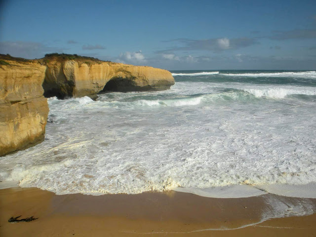 Waves crashing along the Great Ocean Road in Australia