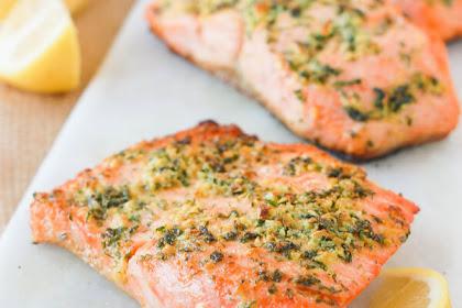 Lemon Garlic Herb Crusted Paleo Salmon Recipe