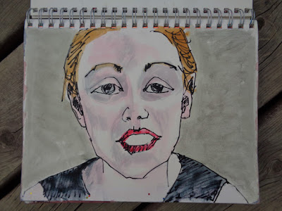 portrait of yulia tsinko by verna vogel ink & goauche in sketchbook