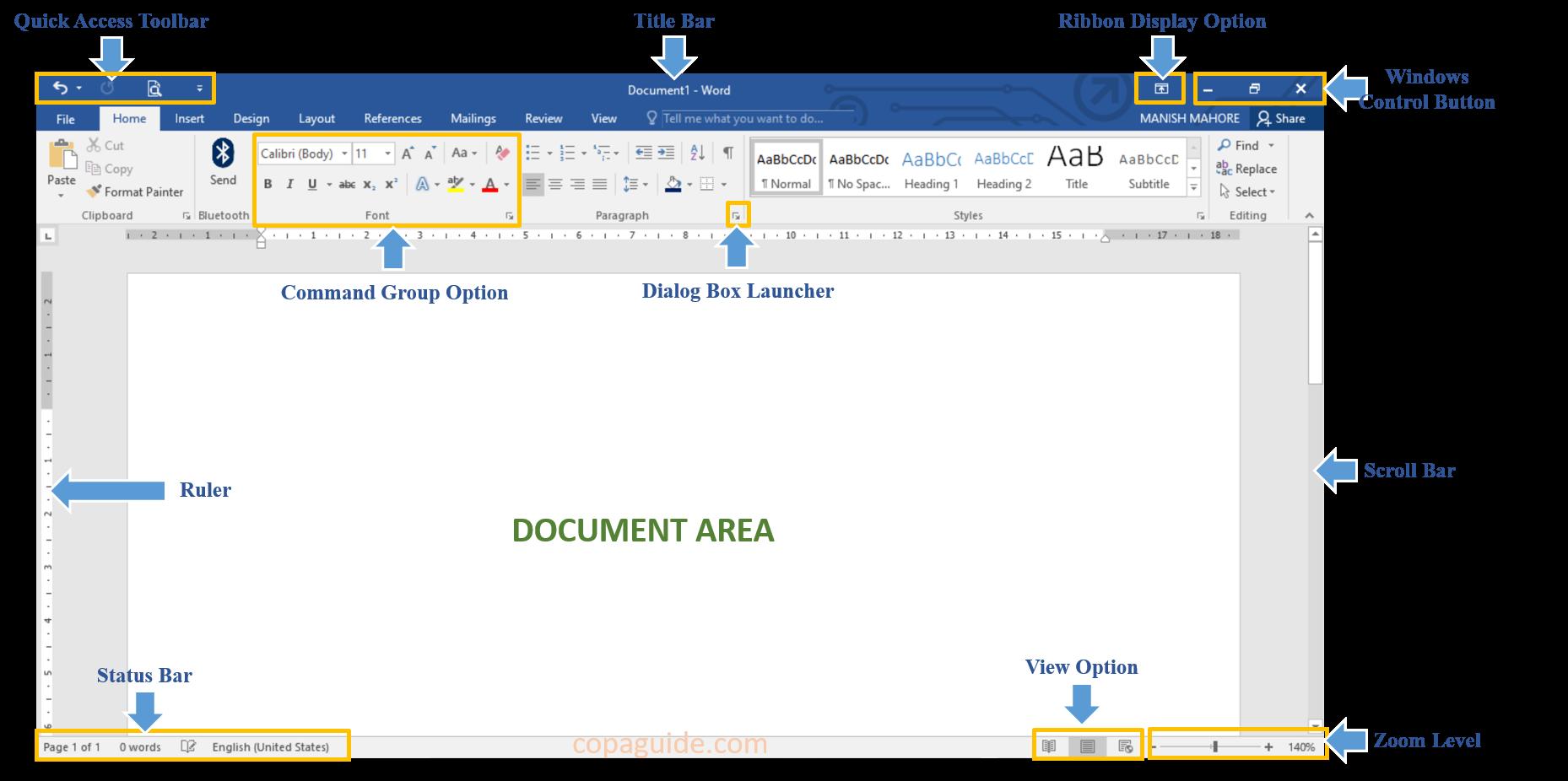 Microsoft Word Program Window