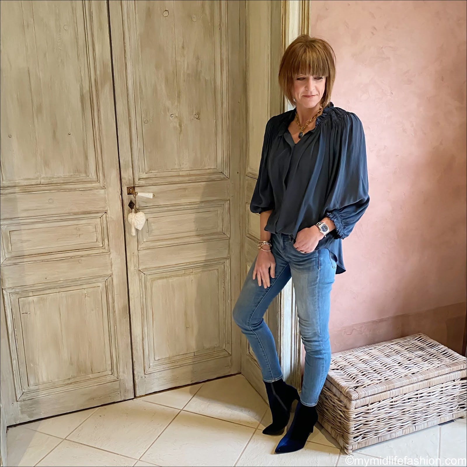 my midlife fashion, Isabel Marant Etoile silk blouse, j crew 8 inch toothpick skinny jeans, Marks and Spencer velvet stiletto heel ankle boots
