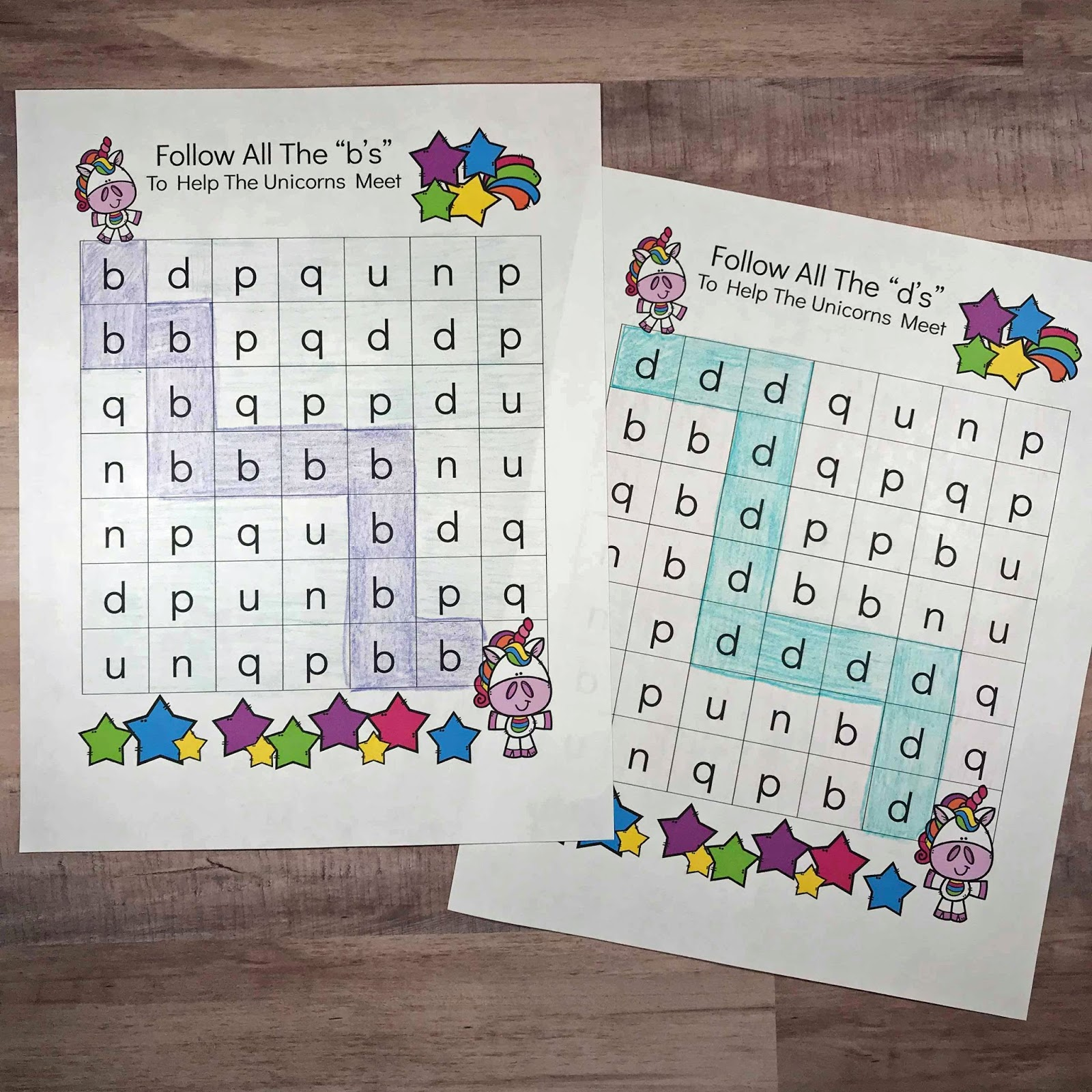 Kindergarten Worksheets And Games Unicorn B And D Maze Worksheets