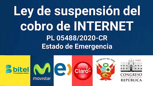 Ley de suspensión del cobro de INTERNET durante Estado de Emergencia
