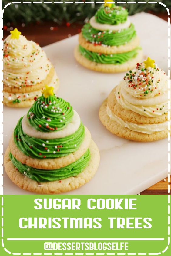 Turning sugar cookies into Christmas trees is actually way easier than you think. Get the recipe at Delish.com. #DessertsBlogSelfe #delish #easy #recipe #sugarcookies #cookies #christmascookies #tree #frosting #diy #hack #kids #holidays #baking #DessertsforParties #christmas