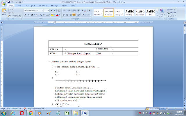 Soal ulangan harian matematika kelas 6 materi bilangan bulat negatif