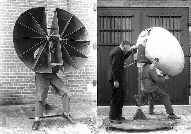 Dutch personal horns: 1930s. This design no doubt had more gain, thanks to its greater area. It swivelled on the post behind the operator. On the right, a later version of the design on the left. Note the extra cross-bracing added at the top of the horns. There are two counter-weights sticking out towards the rear. Rubber rings cushioned the operator's ears.