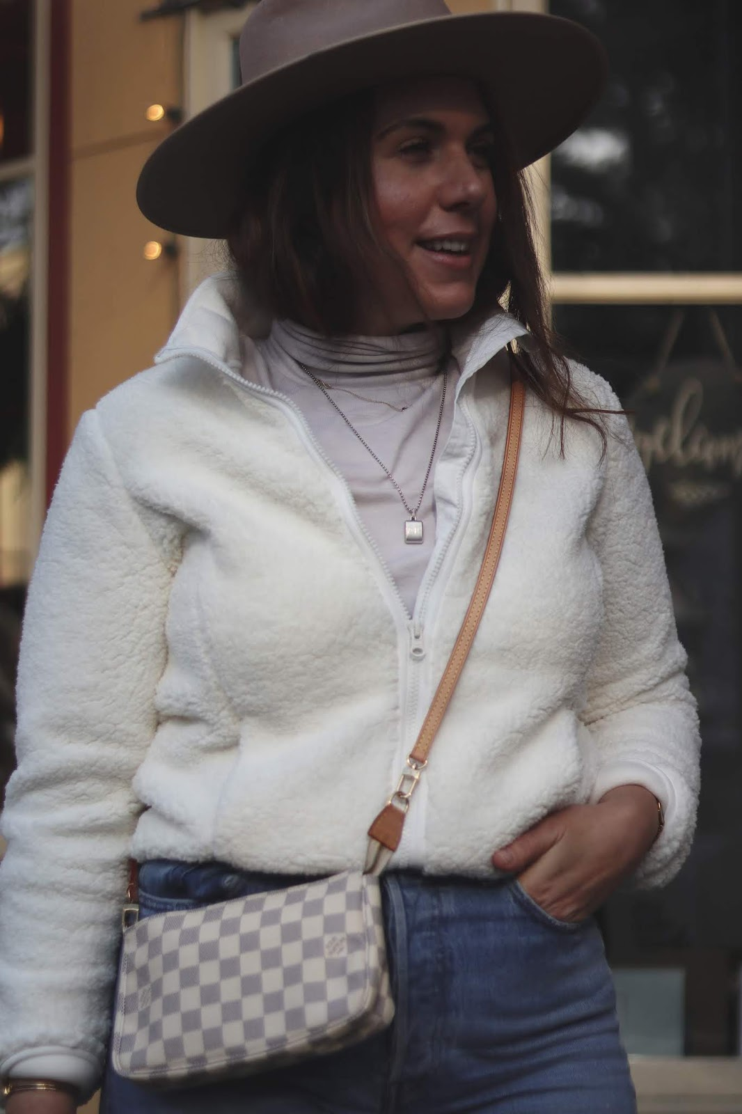 joe fresh sherpa jacket outfit blogger lack of color rancher hat aleesha harris levi's ribcage jeans