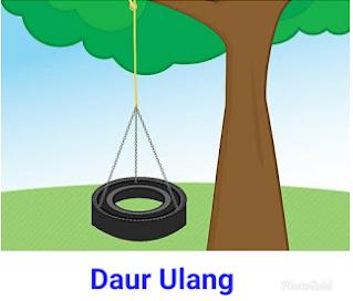 Gunakan Batang Pohon Yang Besar Untuk Tiang Ayunan