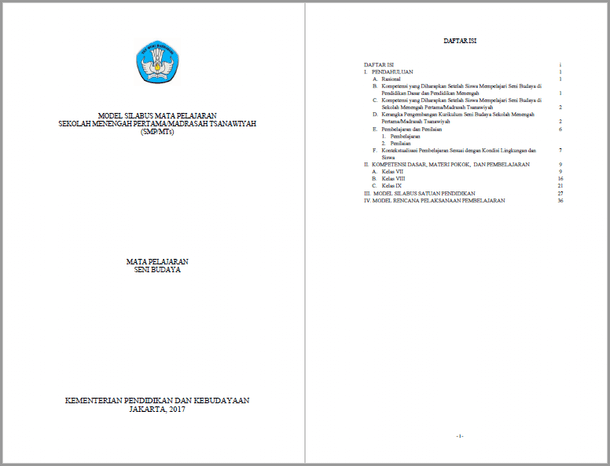 Silabus RPP Seni Budaya SMP MTs Kurikulum 2013 Kelas VII, VIII, IX