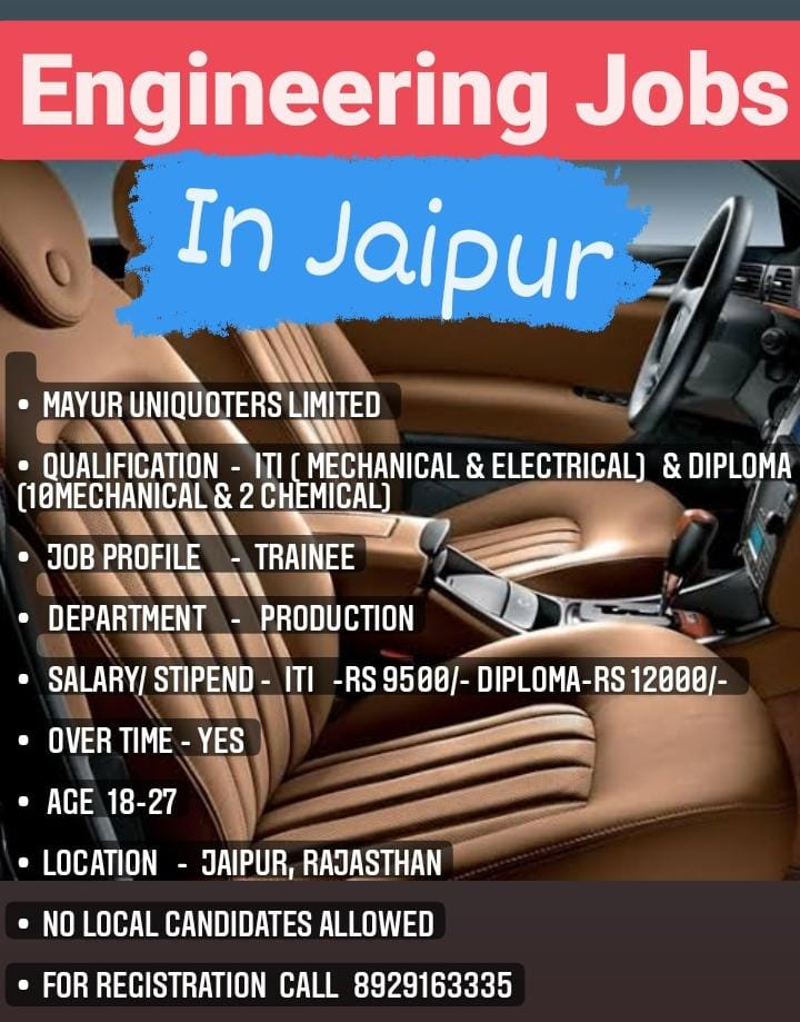 ITI Mechanical And Electrical Jobs In Mayur Uniquoters Ltd