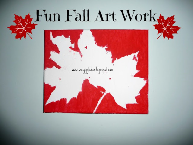 fun Fall kids art work with leaves,