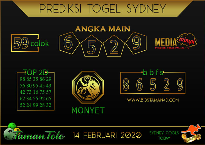 Prediksi Togel SYDNEY TAMAN TOTO 14 FEBRUARY 2020