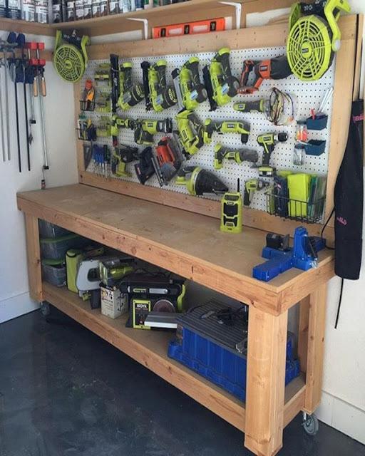 cool garage wood workbench ideas