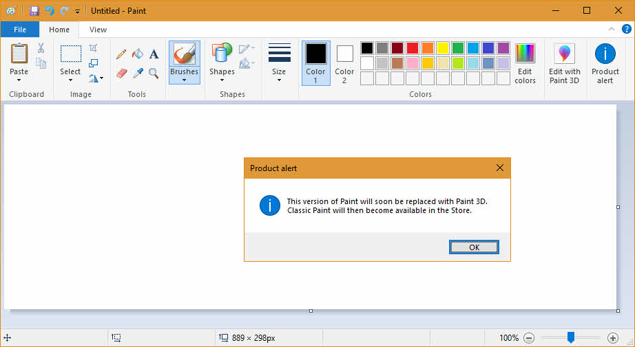 This version of Paint will soon be replaced with Paint 3D. Classic Paint will then become available in the Store.