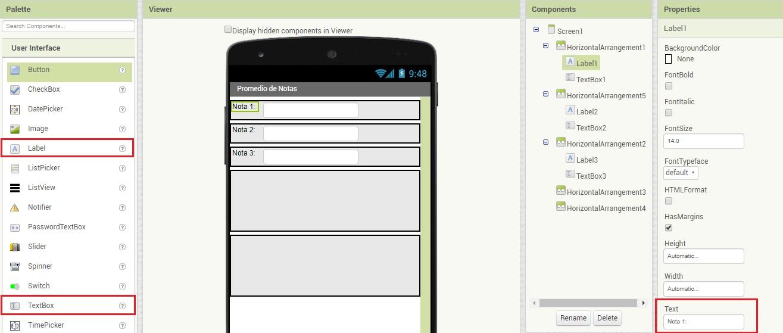 Promedio de notas en App Inventor