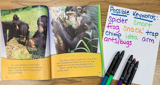 Text showing chimps and possible keywords paper with words written on it