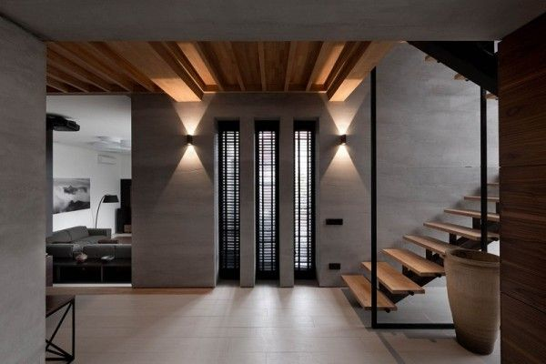 wooden staircase floating style