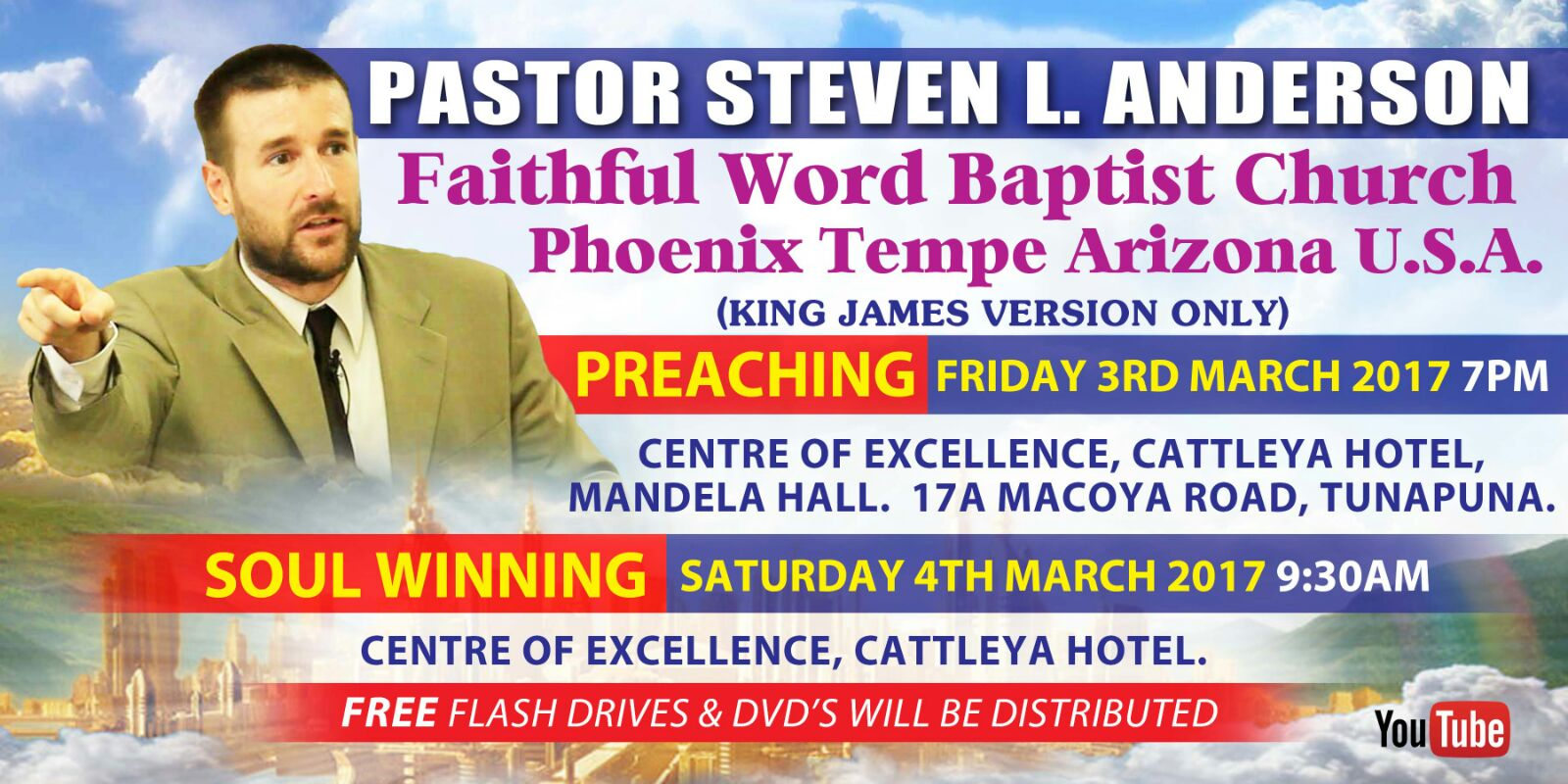 I will still be preaching on Friday, March 3, 2017, in Trinidad and Tobago, but the location has changed. Courtyard Marriot Hotel in Invaders Bay, ...