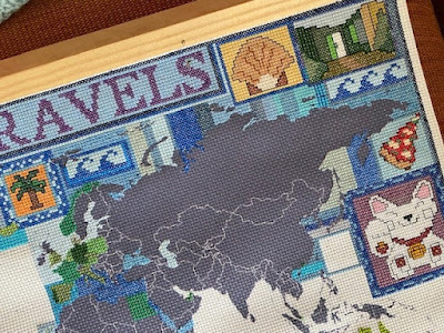 Cross stitch map personal travel in detail