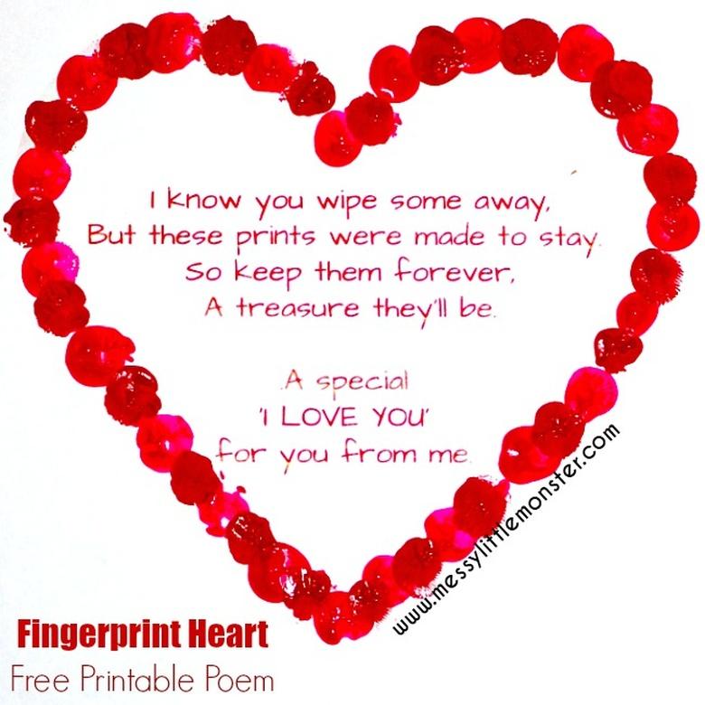 fingerprint heart craft and printable poem