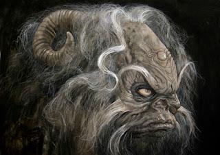 monstrous horned face