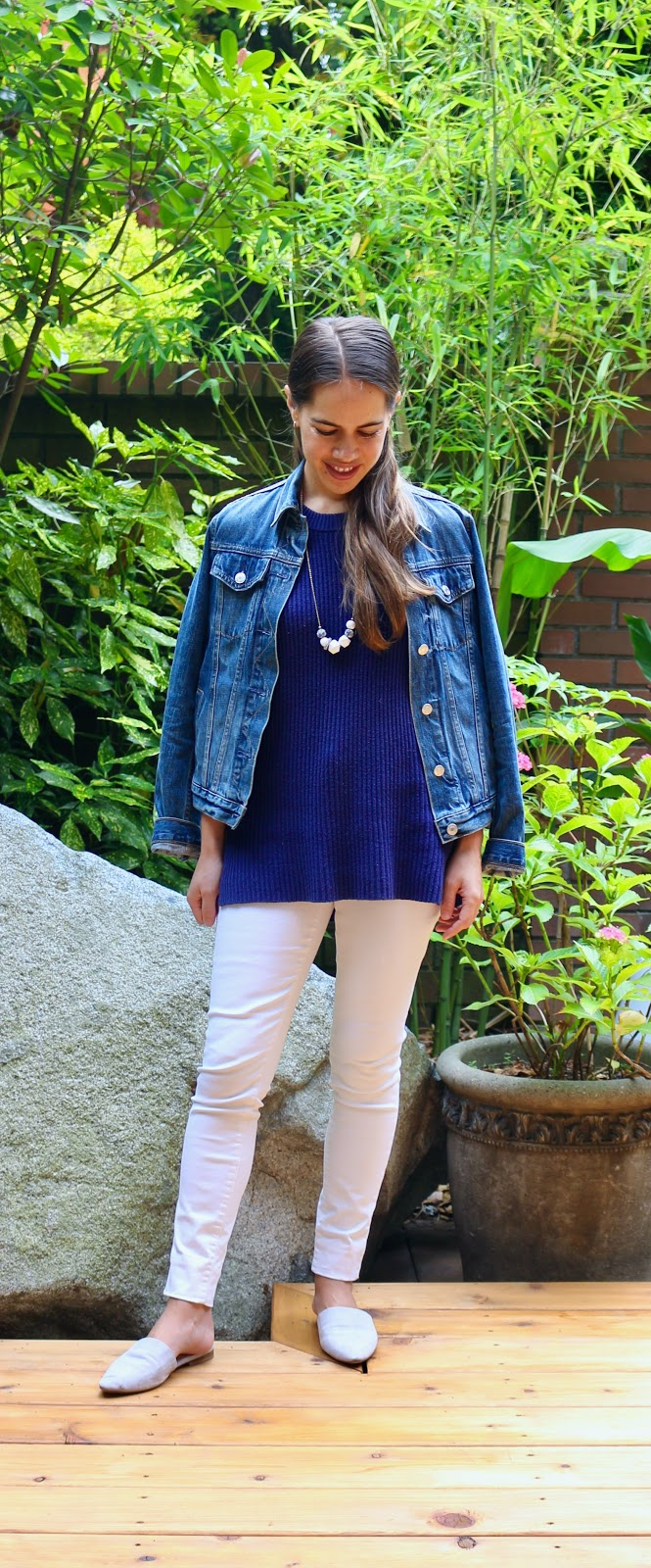 Jules in Flats - Sleeveless Knit Tunic with White Skinny Jeans for Work (Business Casual Workwear on a Budget)