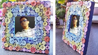 Kreasi Mempercantik Bingkai Foto Dengan Kancing Baju