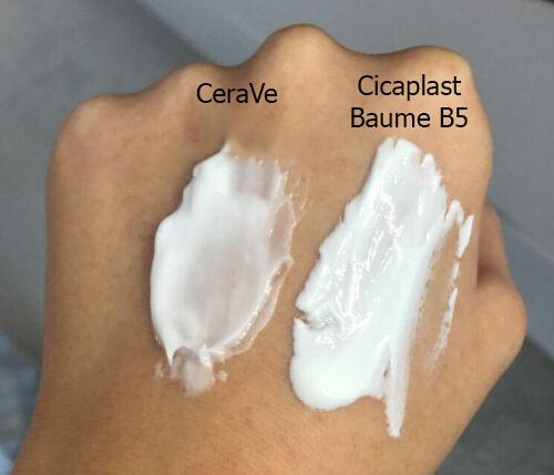 So với kem dưỡng ẩm CeraVe yêu thích của mình thì Cicaplast baume B5 dày hơn khá nhiều