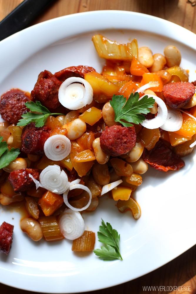 Chorizo Salat Bohnen herzhaft