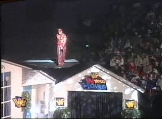 WWF / WWE - In Your House 6 - Rage in the Cage - Shawn Michaels dances on the ceiling of the In Your House set