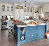 Beautiful kitchen design feature kitchen island with white countertops sink and dark wood breakfast table