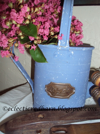 Eclectic Red Barn: Blue painted watering can with added white paint
