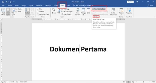 Menampilkan Dua Dokumen Word Dalam 1 Layar