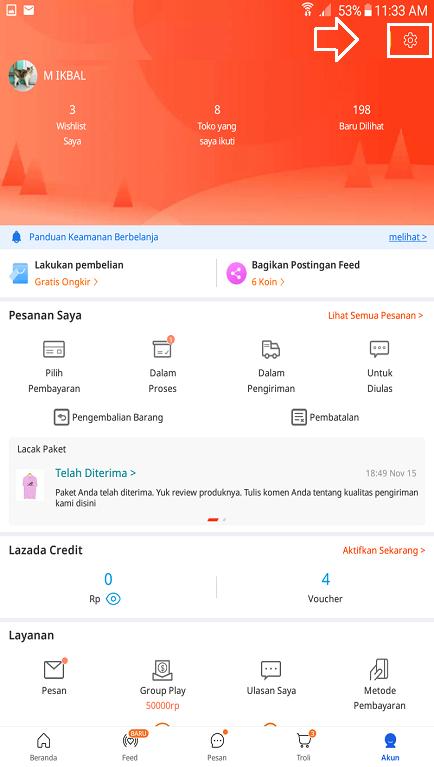 Icon Pengaturan Akun Lazada Untuk Mengisi Informasi Kelengkapan Akun.