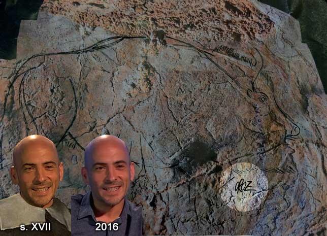 Bisonte firmado por César Oroz en la cueva de Alkerdi