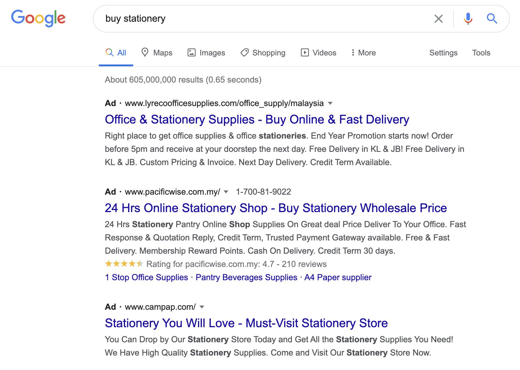 SEM: Buy Stationery