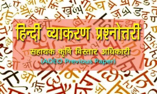हिंदी व्याकरण (Hindi) सामान्य ज्ञान प्रश्नोत्तरी- CG Vyapam (ADEO12) Questions Solved Paper