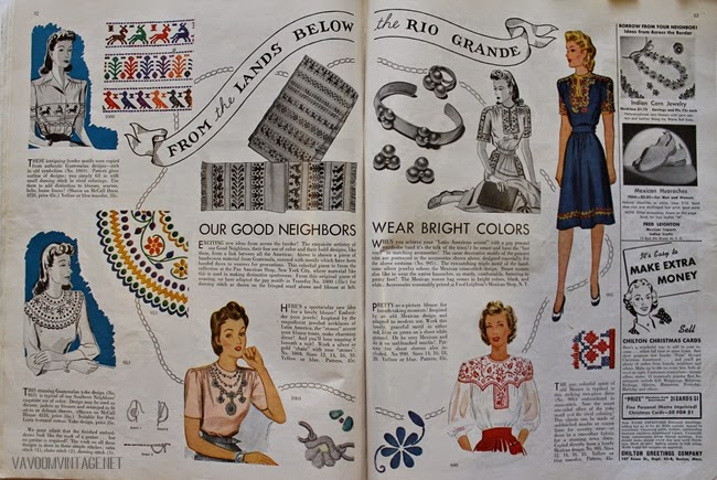 1940s vintage southwestern style blouse and dress patterns from Va-Voom Vintage with Brittany