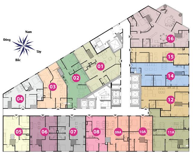 Mặt bằng tầng 12 đến 17 tháp doanh nhân