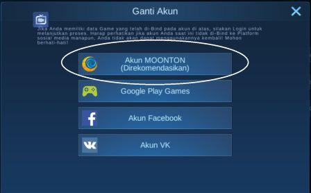 daftar akun moonton android
