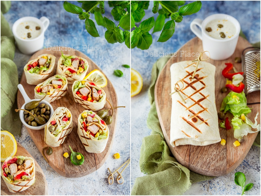 Tortille z indykiem i sosem tatarskim
