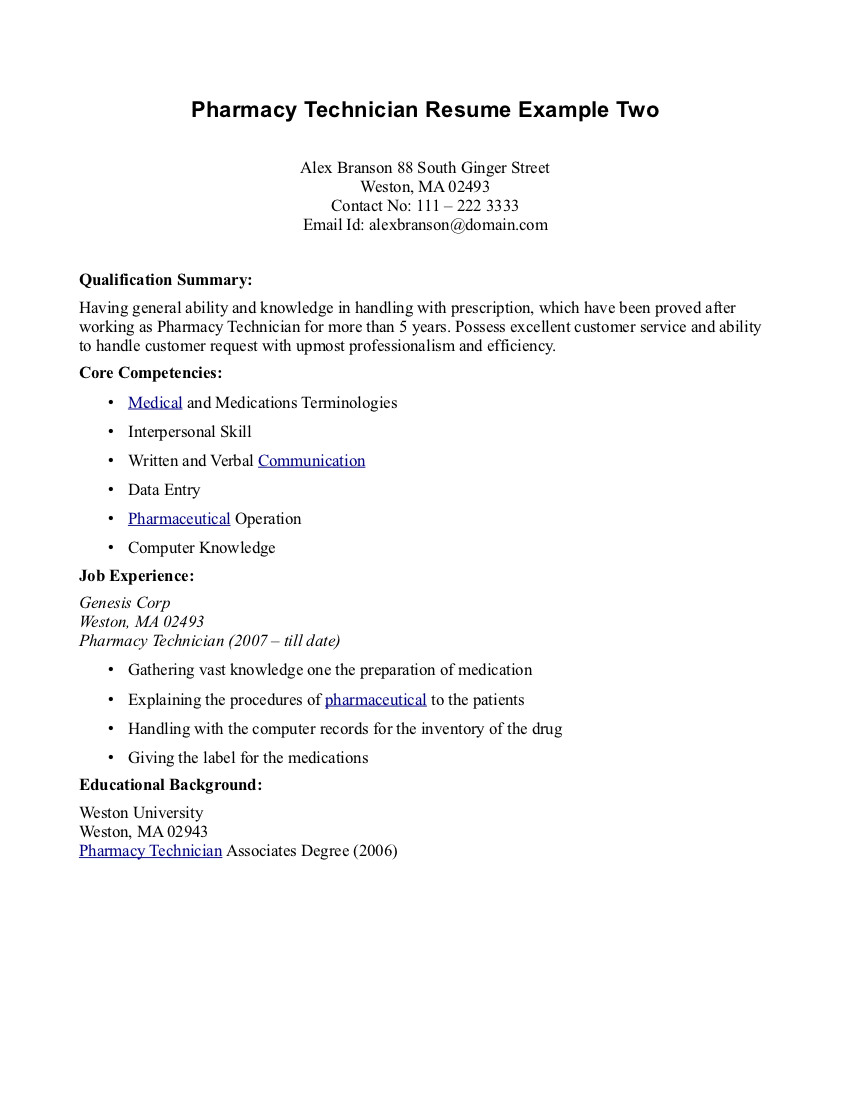 tech resumes - Pharmacy Technician Resume Sample